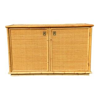1970s Dal Vera Mid Century Italian Bamboo Rattan Storage Credenza For Sale