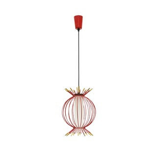 Whimsical Red Sputnik Cage Pendant, circa 1960