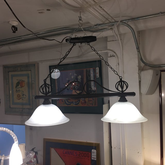 Wrought Iron & Glass 2 Pendant Fixture - Image 5 of 5