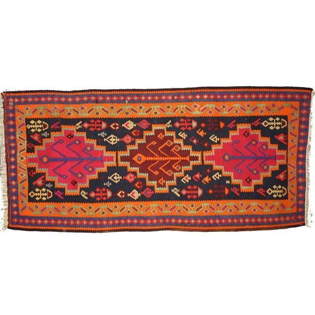 "Boho Chic Vintage Persian Tribal Kilim Rug Runner - 5'3"" X 11'3"" - Image 1 of 6"