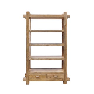 Rustic Raw Wood Open Shelf Bookcase