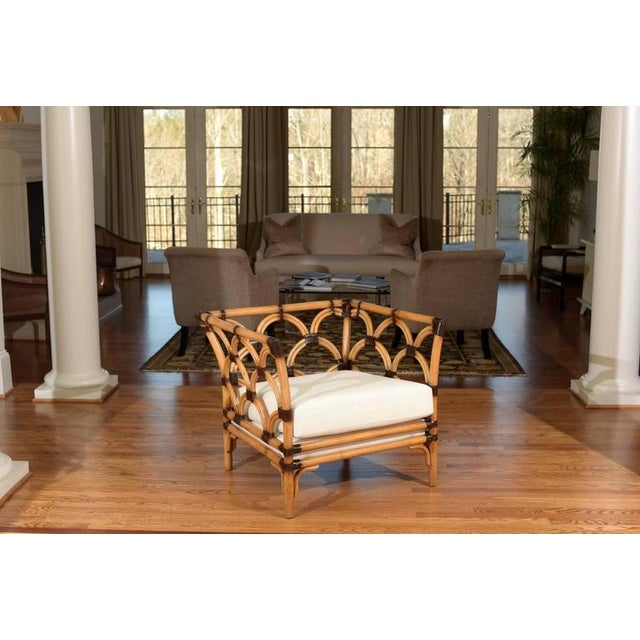 Amazing Pair of Scalloped Rattan Club Chairs by Peter Rocchia for Wicker Works For Sale - Image 10 of 11
