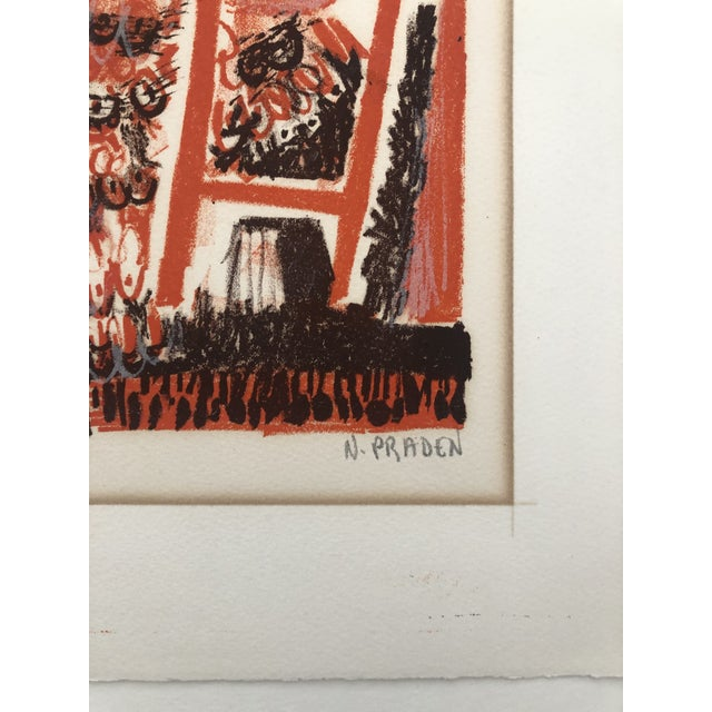 Lady in an Interior Color Woodcut 1960s For Sale - Image 4 of 9