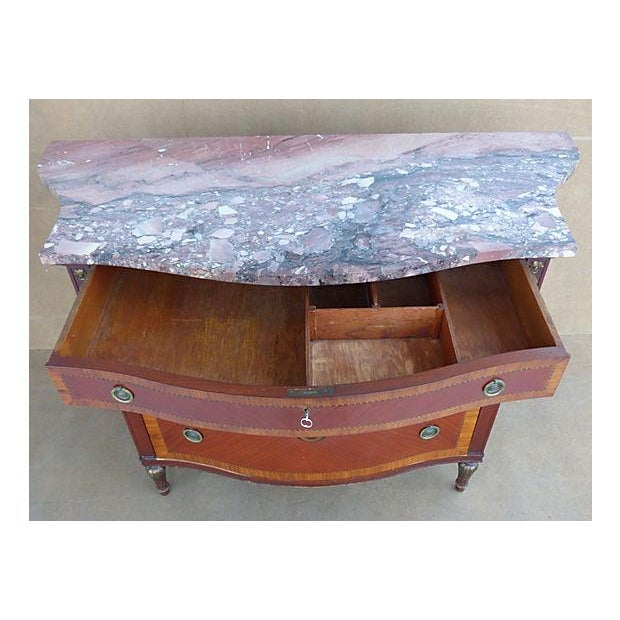 Marquetry & Inlay Marble Top Chest For Sale - Image 4 of 11