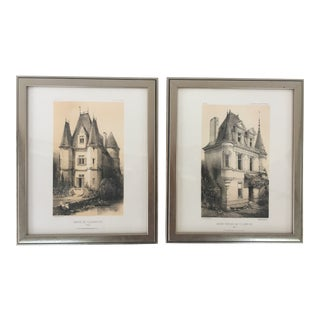 Framed French Architectural Prints - Pair For Sale