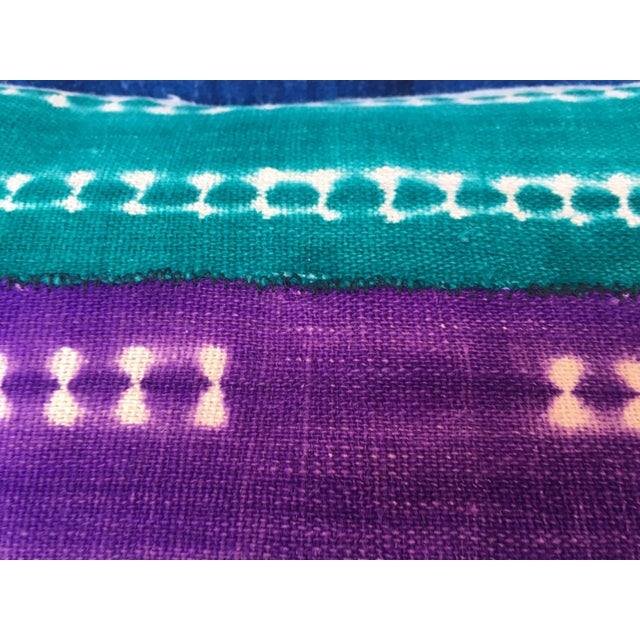 Purle and Teal African Mud Cloth Pillow - Image 6 of 8