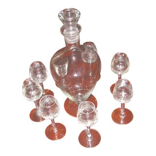 1980s Art Nouveau Crystal Decanter and Etched Cordial Glasses - 9 Pieces For Sale