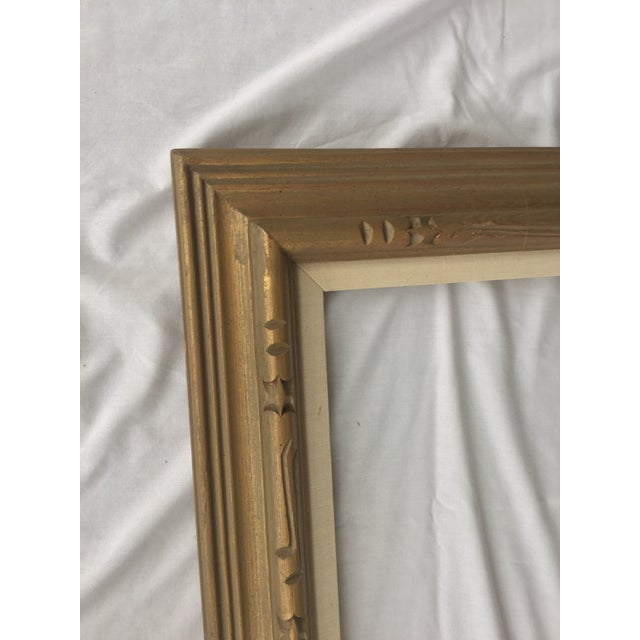 Large Mid-Century Gold Carved Gold Wood Frame - Image 7 of 11