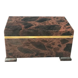 1980s Stone and Bronze Footed Treasure Box For Sale