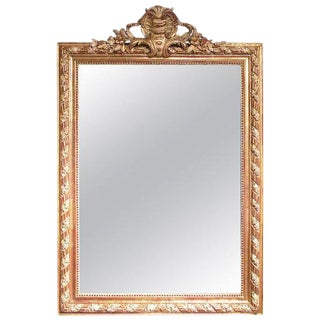 19th Century French Gilt and Polished Gesso Crested Wall Mirror For Sale