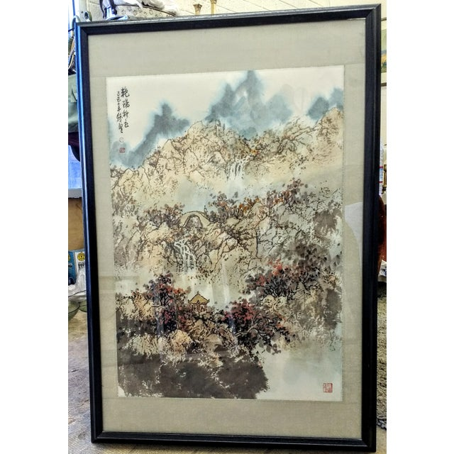Vintage Framed Asian Watercolor Painting - Image 2 of 5