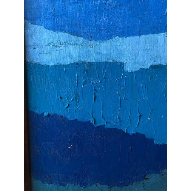 "Abstract ""Shades of Blue"" Oil Painting on Canvas For Sale - Image 4 of 9"