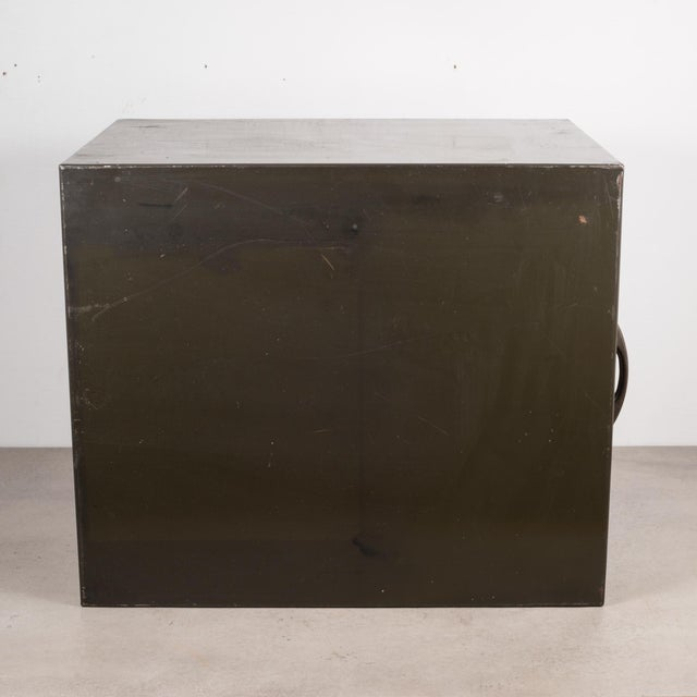 Army Green Industrial Factory Two Drawer Cabinet With Brass Pulls C.1940 For Sale - Image 8 of 10