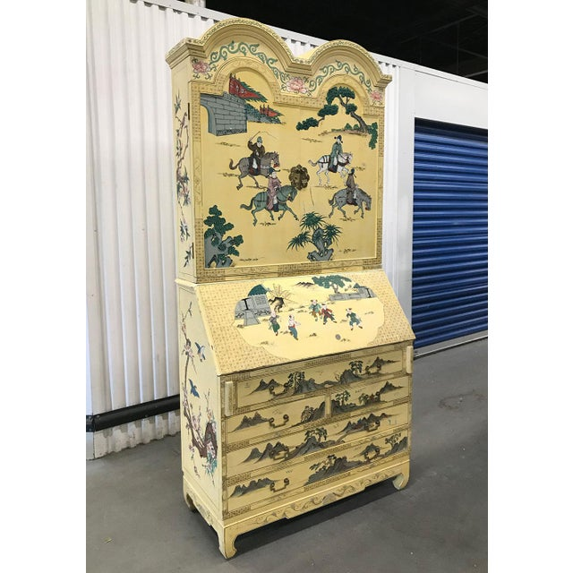 Vintage hand-painted Chinoiserie secretary, c.1970s. Background color is yellow; scenic, figural and floral Asian-...