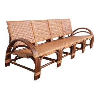 Calif-Asia Mid-Century Hollywood Regency Rattan Four-Piece Sectional Sofa, 1950s For Sale