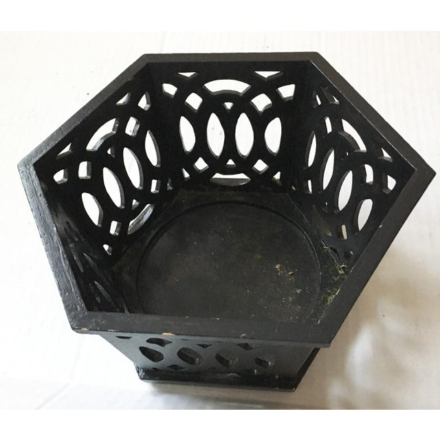 English Fretwork Octagonal Ebonized Wood Cachepot - Image 3 of 6