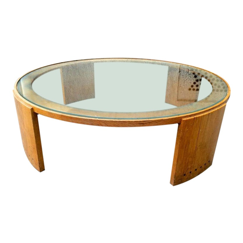 Jacques Adnet Very Large Round Coffee Table In Oak And Glass Top