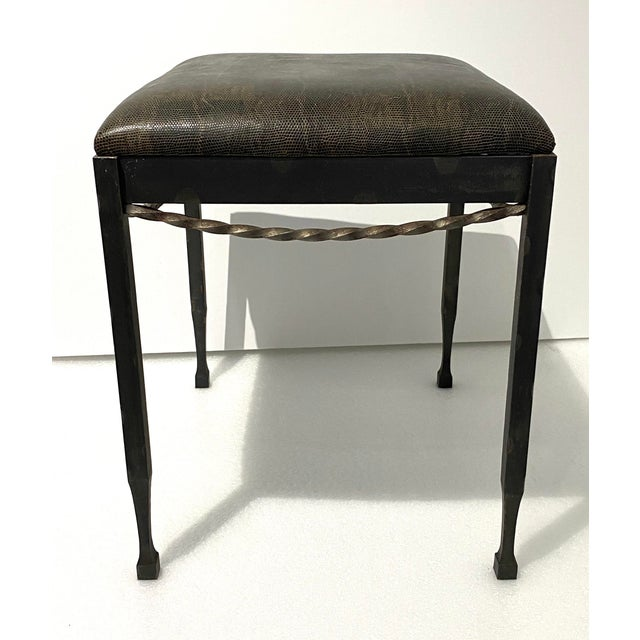 Vintage Artisan Wrought Iron Stool With Faux Lizard Fabric For Sale - Image 4 of 12