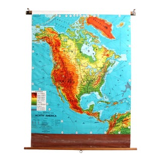 Vintage 1950's Pull Down School House Map of North America For Sale