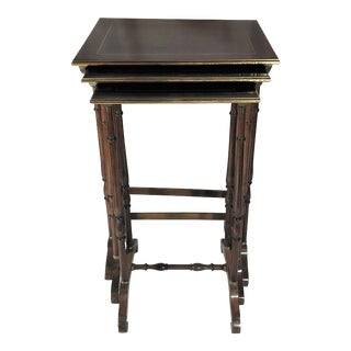 Antique French Mahogany With Bronze Inlay Nest of Tables , Over 100 Years Old.