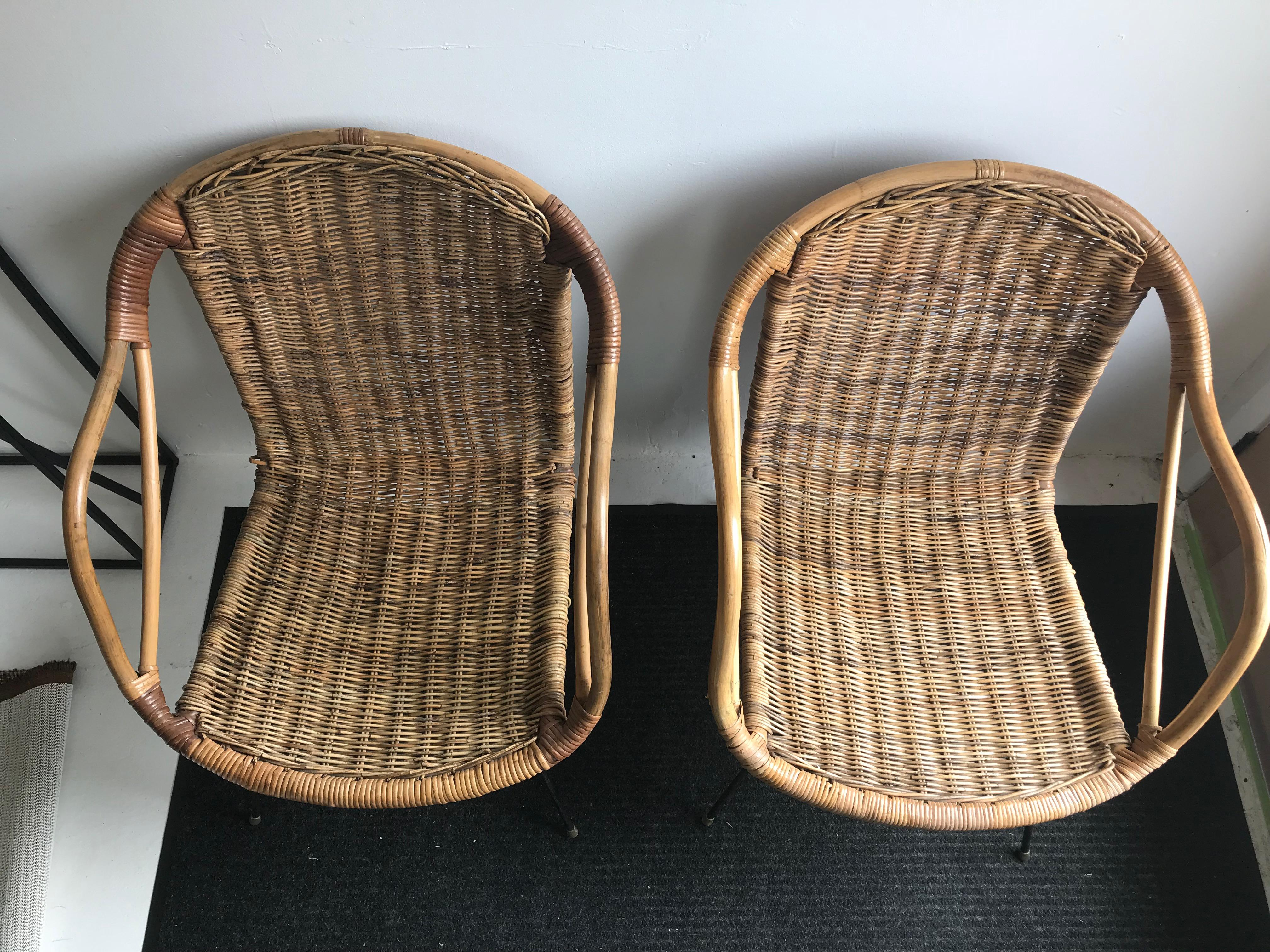 Mid Century Rattan Chairs   A Pair   Image 2 Of 6