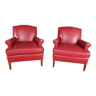 1940s Vintage Red Vinyl Club Chairs - a Pair For Sale