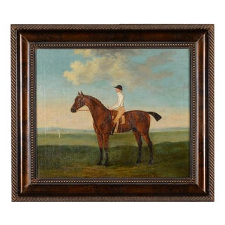 Antique English Oil Painting of a Racehorse & Rider by Francis Sartorius For Sale
