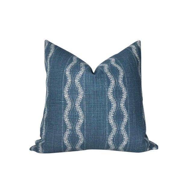 Zanzibar Indigo Blue Linen Pillow Cover For Sale
