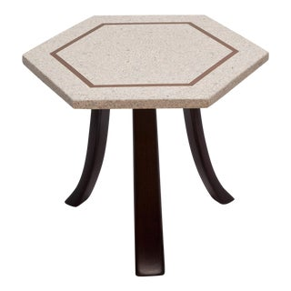 Brass Inlaid Terrazzo Top Side Table by Harvey Probber For Sale