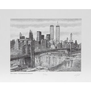 Walter Tjart - NY The Brooklyn Bridge Etching