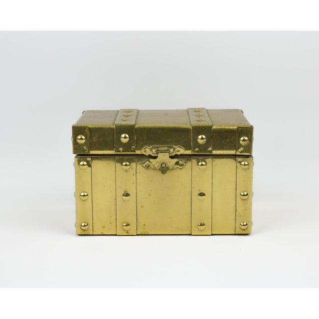Sarreid Style Miniature Tabletop Brass Trunk For Sale - Image 12 of 12
