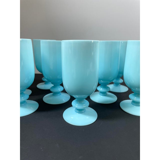Art Deco 1930s Portieux Vallerysthal French Blue Opaline Cocktail / Low Stem Wine Glasses - Set of 9 For Sale - Image 3 of 13