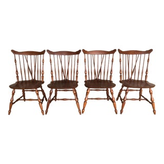 Ethan Allen Early American Cherry Windsor Brace Back Side Chairs - Set of 4 For Sale