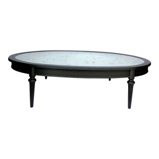 Hollywood Regency Gold Veined Mirror Coffee Table For Sale