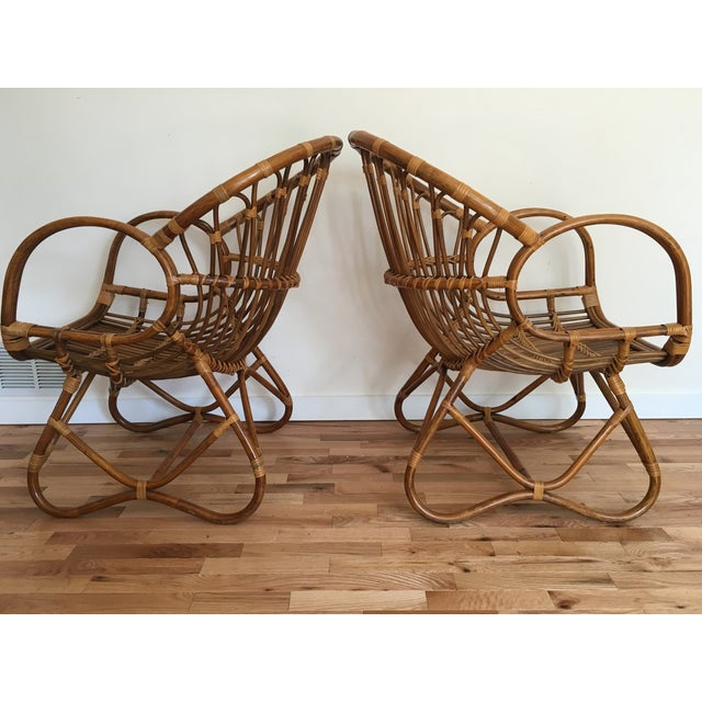Boho Chic 1960s Franco Albini Style Scoop Chairs - Pair For Sale - Image 3 of 6