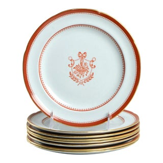 Spode Newburyport Red (Gold Trim) Salad Plate Set of 8 For Sale
