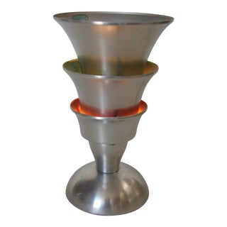 Art Deco Style Three Tier Brushed Aluminum Torchiere Table Lamp For Sale