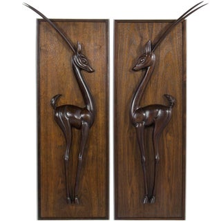 1950s Walnut Gazelle Wall Sculptures - a Pair For Sale