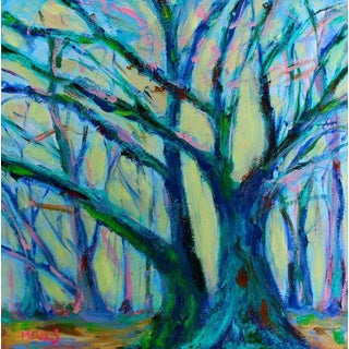 Mystery Trees Contemporary Oil Painting For Sale