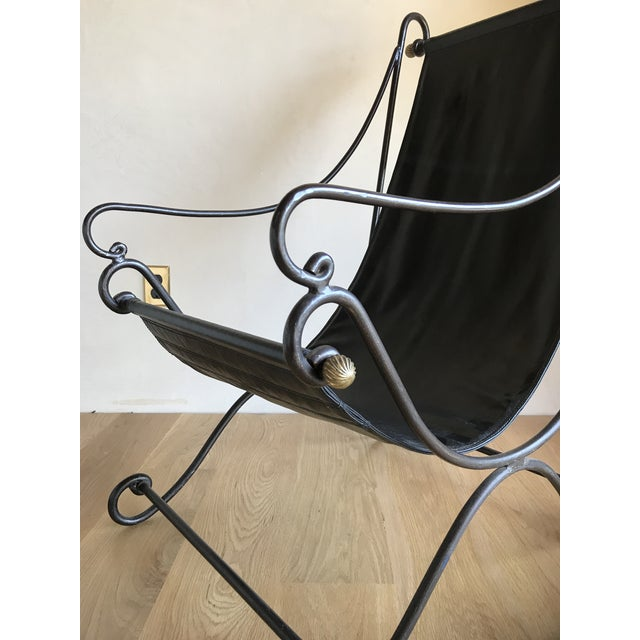20th Century Maison Jansen Neoclassical Iron Brass Sling Lounge Chair Savonarola Janus Et Cie Style For Sale - Image 11 of 12
