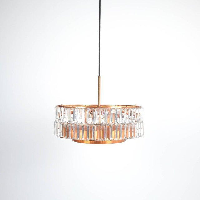 Jo Hammerborg attributed for Fog & Mørup large chandelier Denmark lamp, 1960. Made from copper and crystal cut glass this...