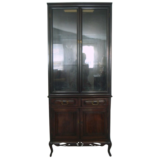 Image of Antique Chinese Blackwood Display China Cabinet/Cupboard/Hutch
