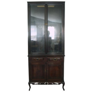 Antique Chinese Blackwood Glass Door China Display Cabinet / Cupboard / Hutch (Hongmu) For Sale
