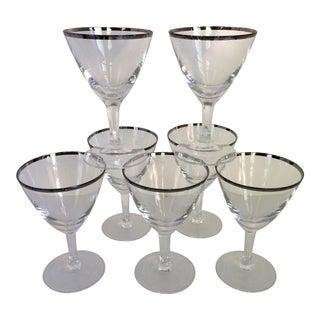 Vintage French Crystal Platinum Rim Cocktail Glasses - Set of 7