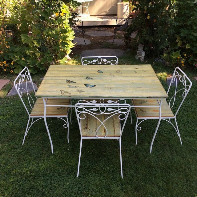 Vintage Metal table and 4 chairs with bead board tops. The top is 1940's redwood bead board salvaged from an old home in...