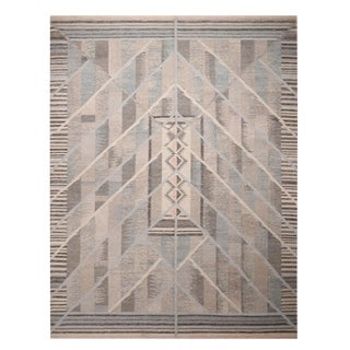 Rug & Kilim's Scandinavian Inspired Geometric Beige Gray and Blue Wool Kilim Rug For Sale