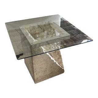 1990s Travertine Side Table For Sale