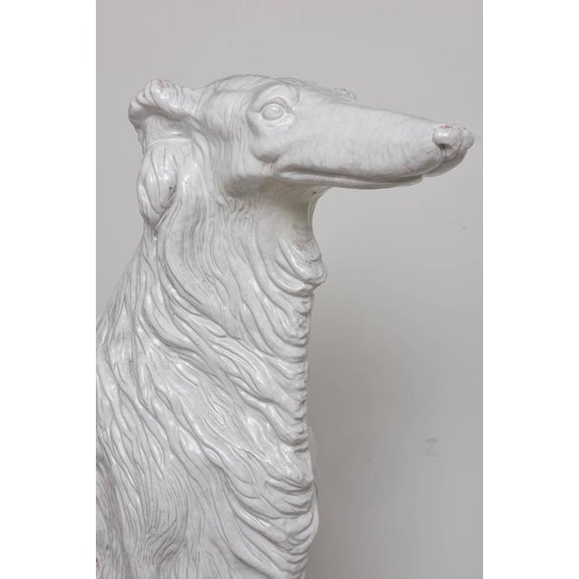 Clay Life-Size Borzoi in Italian White Glazed Terracotta For Sale - Image 7 of 10