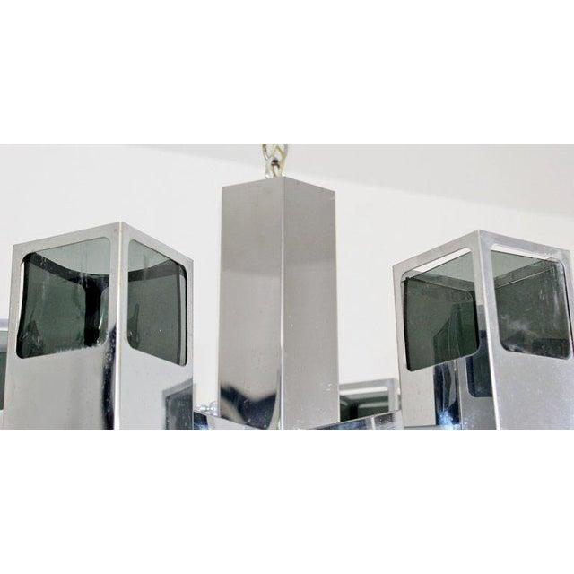 Late 20th Century Mid-Century Modern Robert Sonneman 7 Bulb Chrome Light Fixture Chandelier For Sale - Image 5 of 8