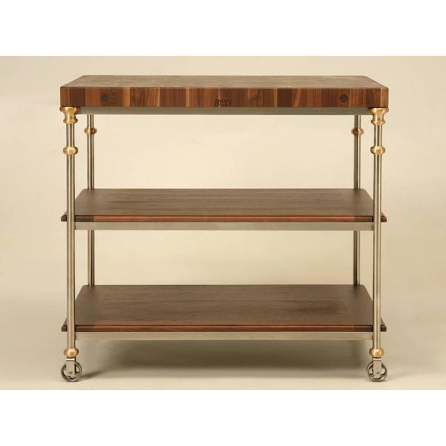 Industrial Style Stainless Butcher Block Island For Sale - Image 10 of 10
